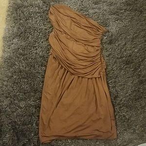 Brown One Shoulder Satin Dress